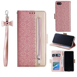 Luxury Lace Zipper Stitching Leather Phone Wallet Case for iPhone SE 2020 - Pink