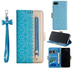 Luxury Lace Zipper Stitching Leather Phone Wallet Case for iPhone SE 2020 - Blue