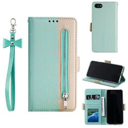 Luxury Lace Zipper Stitching Leather Phone Wallet Case for iPhone SE 2020 - Green