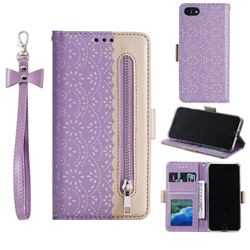 Luxury Lace Zipper Stitching Leather Phone Wallet Case for iPhone SE 2020 - Purple