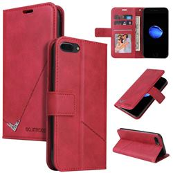 GQ.UTROBE Right Angle Silver Pendant Leather Wallet Phone Case for iPhone SE 2020 - Red