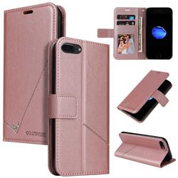 GQ.UTROBE Right Angle Silver Pendant Leather Wallet Phone Case for iPhone SE 2020 - Rose Gold