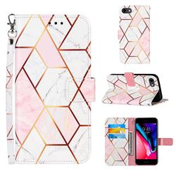 Pink White Stitching Color Marble Leather Wallet Case for iPhone SE 2020