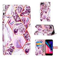 Dream Purple Stitching Color Marble Leather Wallet Case for iPhone SE 2020