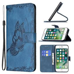 Binfen Color Imprint Vivid Butterfly Leather Wallet Case for iPhone SE 2020 - Blue