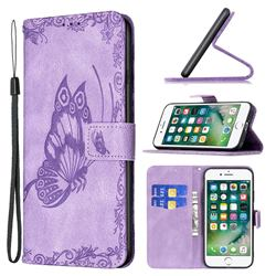 Binfen Color Imprint Vivid Butterfly Leather Wallet Case for iPhone SE 2020 - Purple