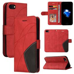 Luxury Two-color Stitching Leather Wallet Case Cover for iPhone SE 2020 - Red