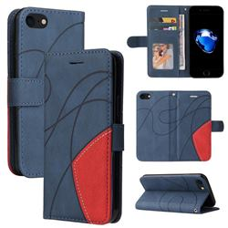 Luxury Two-color Stitching Leather Wallet Case Cover for iPhone SE 2020 - Blue