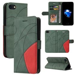 Luxury Two-color Stitching Leather Wallet Case Cover for iPhone SE 2020 - Green
