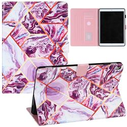 Dream Purple Stitching Color Marble Leather Flip Cover for Apple iPad 10.2 (2020)