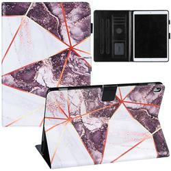 Black and White Stitching Color Marble Leather Flip Cover for Apple iPad 10.2 (2020)