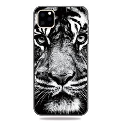 White Tiger 3D Embossed Relief Black TPU Cell Phone Back Cover for iPhone 11 Pro (5.8 inch)