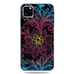 Colorful Lace 3D Embossed Relief Black TPU Cell Phone Back Cover for iPhone 11 Pro (5.8 inch)