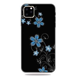 Little Blue Flowers 3D Embossed Relief Black TPU Cell Phone Back Cover for iPhone 11 Pro (5.8 inch)