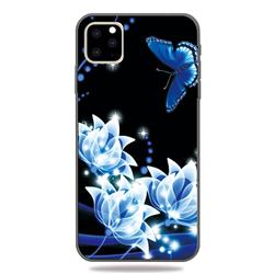 Blue Butterfly 3D Embossed Relief Black TPU Cell Phone Back Cover for iPhone 11 Pro (5.8 inch)