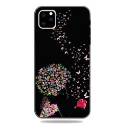 Corolla Girl 3D Embossed Relief Black TPU Cell Phone Back Cover for iPhone 11 Pro (5.8 inch)