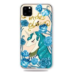 Blue Flower Unicorn Clear Varnish Soft Phone Back Cover for iPhone 11 Pro (5.8 inch)