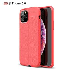 Luxury Auto Focus Litchi Texture Silicone TPU Back Cover for iPhone 11 Pro (5.8 inch) - Red