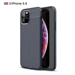 Luxury Auto Focus Litchi Texture Silicone TPU Back Cover for iPhone 11 Pro (5.8 inch) - Dark Blue