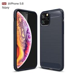 Luxury Carbon Fiber Brushed Wire Drawing Silicone TPU Back Cover for iPhone 11 Pro (5.8 inch) - Navy