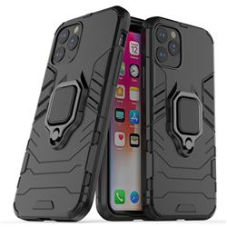 Black Panther Armor Metal Ring Grip Shockproof Dual Layer Rugged Hard Cover for iPhone XI 2019 (5.8 inch) - Black