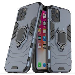 Black Panther Armor Metal Ring Grip Shockproof Dual Layer Rugged Hard Cover for iPhone XI 2019 (5.8 inch) - Blue