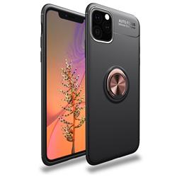 Auto Focus Invisible Ring Holder Soft Phone Case for iPhone 11 Pro (5.8 inch) - Black Gold