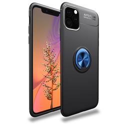 Auto Focus Invisible Ring Holder Soft Phone Case for iPhone 11 Pro (5.8 inch) - Black Blue