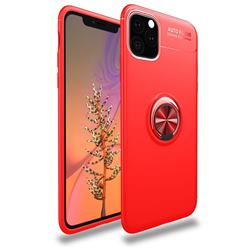 Auto Focus Invisible Ring Holder Soft Phone Case for iPhone 11 Pro (5.8 inch) - Red