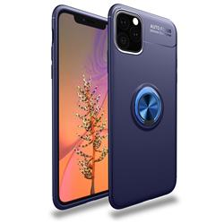 Auto Focus Invisible Ring Holder Soft Phone Case for iPhone 11 Pro (5.8 inch) - Blue