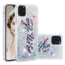 Smile Flower Dynamic Liquid Glitter Quicksand Soft TPU Case for iPhone 11 Pro (5.8 inch)