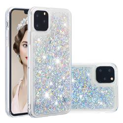 Dynamic Liquid Glitter Quicksand Sequins TPU Phone Case for iPhone 11 Pro (5.8 inch) - Silver