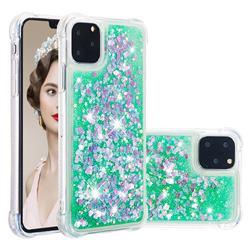 Dynamic Liquid Glitter Sand Quicksand TPU Case for iPhone 11 Pro (5.8 inch) - Green Love Heart