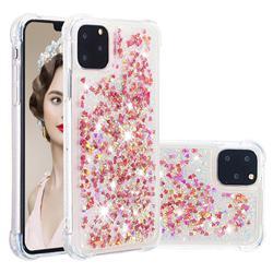 Dynamic Liquid Glitter Sand Quicksand TPU Case for iPhone 11 Pro (5.8 inch) - Rose Gold Love Heart