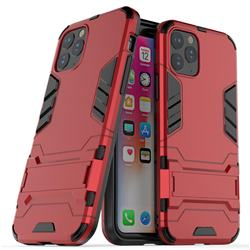 Armor Premium Tactical Grip Kickstand Shockproof Dual Layer Rugged Hard Cover for iPhone 11 Pro (5.8 inch) - Wine Red