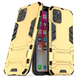 Armor Premium Tactical Grip Kickstand Shockproof Dual Layer Rugged Hard Cover for iPhone 11 Pro (5.8 inch) - Golden