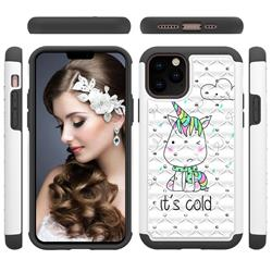 Tiny Unicorn Studded Rhinestone Bling Diamond Shock Absorbing Hybrid Defender Rugged Phone Case Cover for iPhone 11 Pro (5.8 inch)
