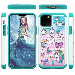Fashion Unicorn Studded Rhinestone Bling Diamond Shock Absorbing Hybrid Defender Rugged Phone Case Cover for iPhone 11 Pro (5.8 inch)