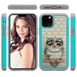 Sweet Gray Owl Studded Rhinestone Bling Diamond Shock Absorbing Hybrid Defender Rugged Phone Case Cover for iPhone 11 Pro (5.8 inch)