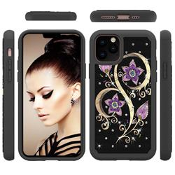 Peacock Flower Studded Rhinestone Bling Diamond Shock Absorbing Hybrid Defender Rugged Phone Case Cover for iPhone 11 Pro (5.8 inch)
