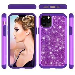 Glitter Rhinestone Bling Shock Absorbing Hybrid Defender Rugged Phone Case Cover for iPhone 11 Pro (5.8 inch) - Purple