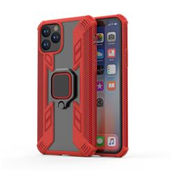 Predator Armor Metal Ring Grip Shockproof Dual Layer Rugged Hard Cover for iPhone 11 Pro (5.8 inch) - Red