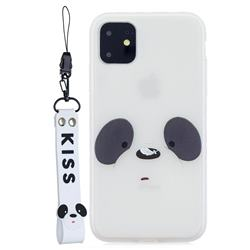 White Feather Panda Soft Kiss Candy Hand Strap Silicone Case for iPhone 11 Pro (5.8 inch)