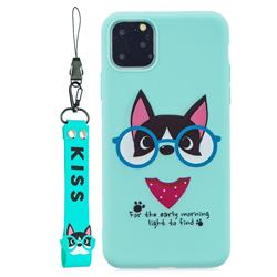 Green Glasses Dog Soft Kiss Candy Hand Strap Silicone Case for iPhone 11 Pro (5.8 inch)