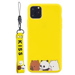 Yellow Bear Family Soft Kiss Candy Hand Strap Silicone Case for iPhone 11 Pro (5.8 inch)