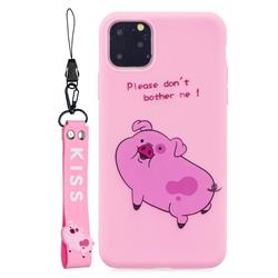 Pink Cute Pig Soft Kiss Candy Hand Strap Silicone Case for iPhone 11 Pro (5.8 inch)