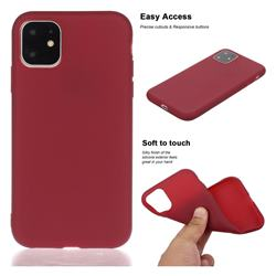 Soft Matte Silicone Phone Cover for iPhone 11 Pro (5.8 inch) - Wine Red