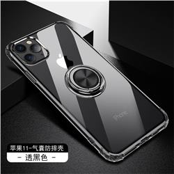 Anti-fall Invisible Press Bounce Ring Holder Phone Cover for iPhone 11 Pro (5.8 inch) - Elegant Black