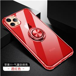 Anti-fall Invisible Press Bounce Ring Holder Phone Cover for iPhone 11 Pro (5.8 inch) - Noble Red