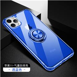 Anti-fall Invisible Press Bounce Ring Holder Phone Cover for iPhone 11 Pro (5.8 inch) - Sapphire Blue